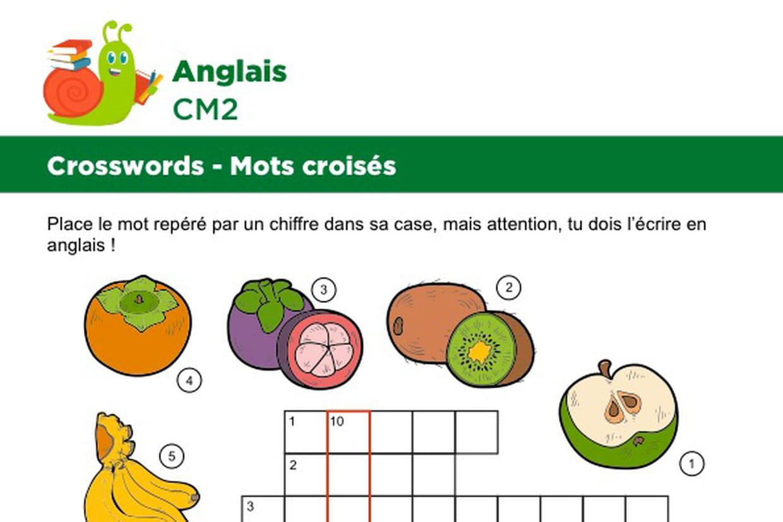Mots Croisés En Anglais Sur Le Thème Des Fruits destiné Mots Croisés Junior À Imprimer