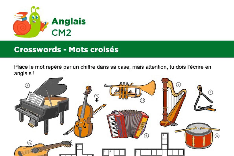 Mots Croisés En Anglais Sur Le Thème Des Instruments De Musique serapportantà Mots Fleches Cm1 Imprimer