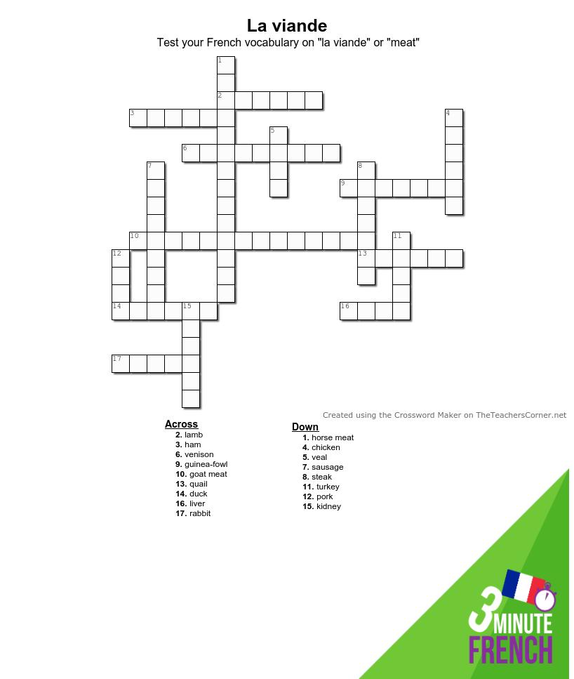 Mots Croisés (French Crossword) — La Viande - The Happy encequiconcerne Mots Croises Ca