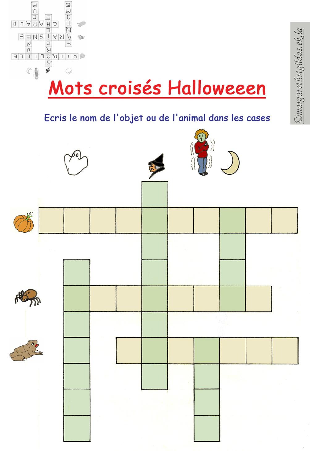 Mots Croisés Halloween - Margareth avec Mots Croisés Pour Débutants À Imprimer