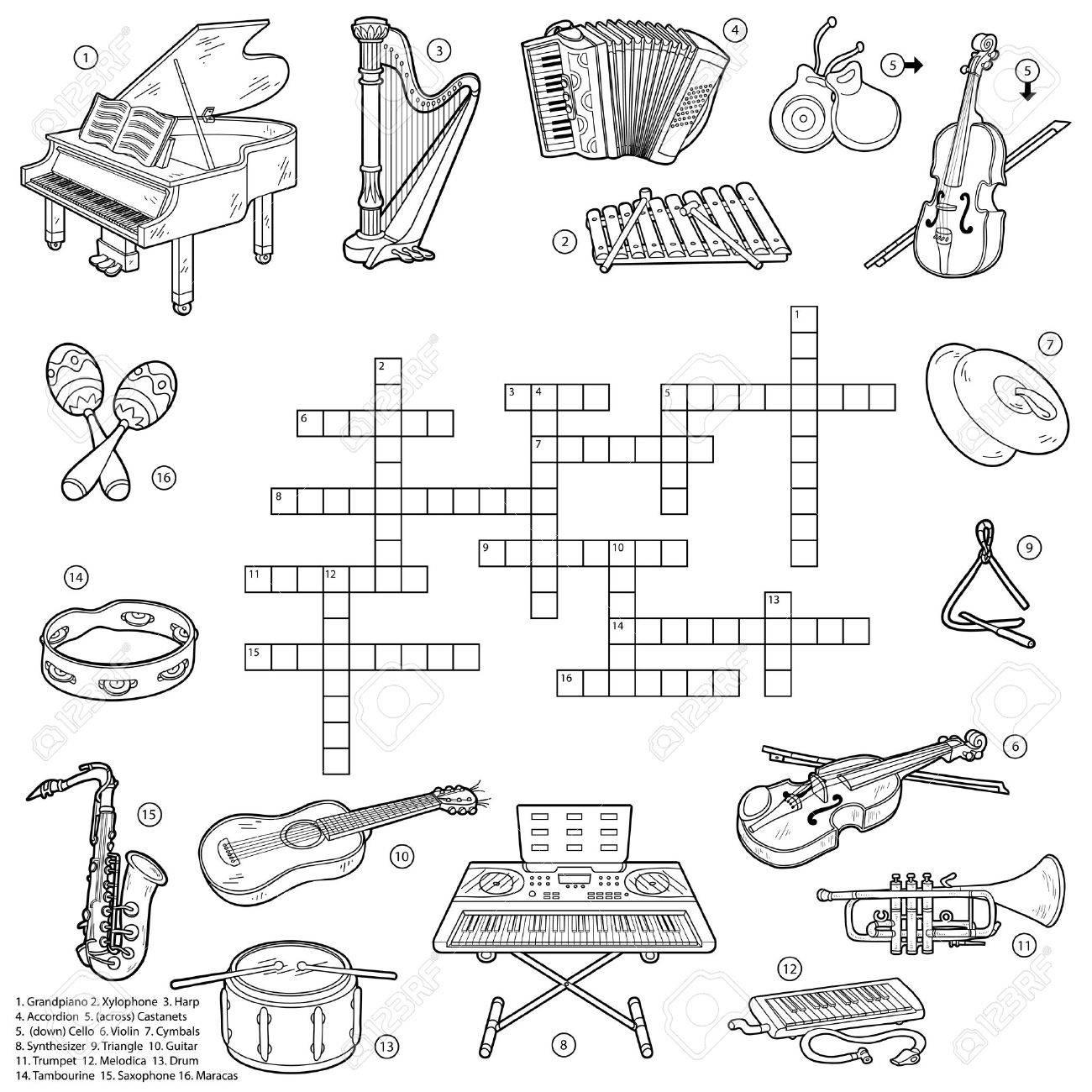 Mots Croisés Incolore, Jeu Éducatif Pour Les Enfants Sur Les Instruments De  Musique à Jeu Des Instruments De Musique