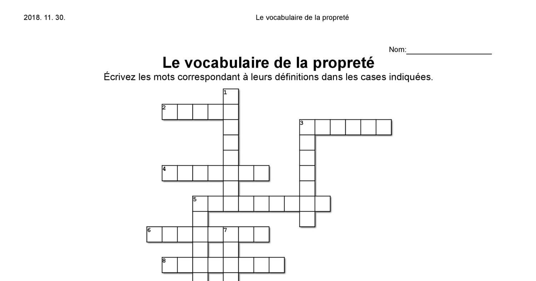 Mots Croisés - Le Vocabulaire De La Propreté - Le Village Le encequiconcerne Jeu De Mot Croisé