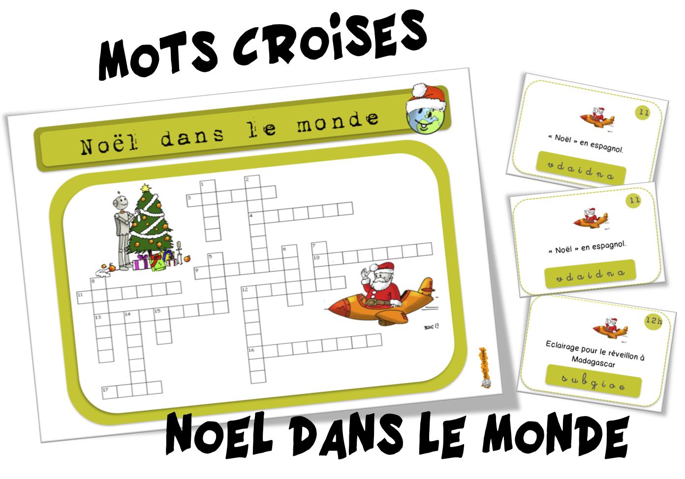 Mots Croisés : Noël Dans Le Monde | Bout De Gomme avec Mots Croisés Noel