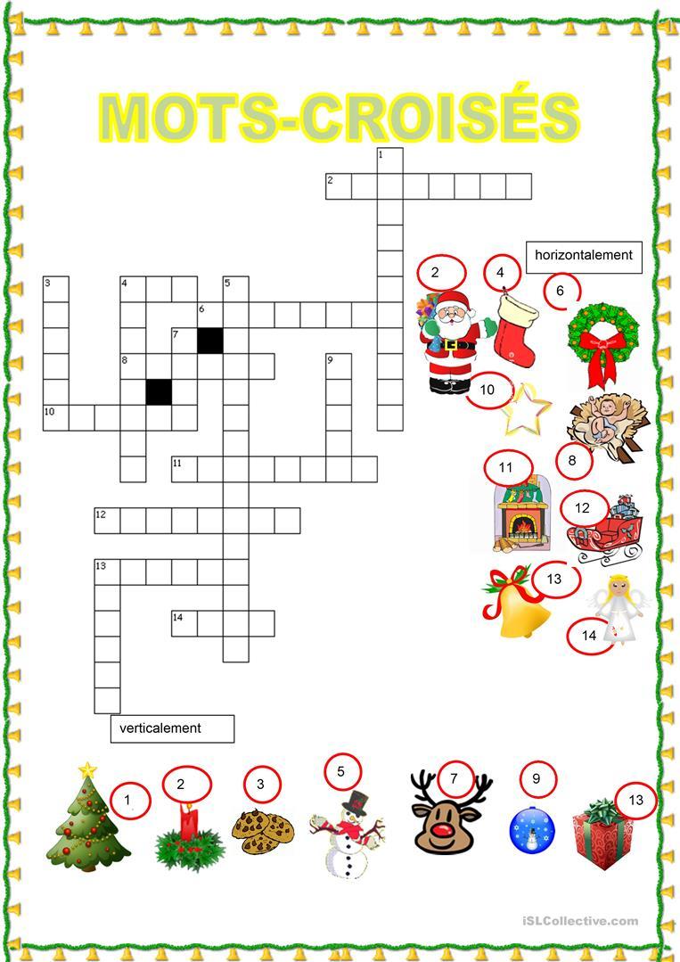 Mots Croisés - Noël - Français Fle Fiches Pedagogiques dedans Mots Croisés Noel