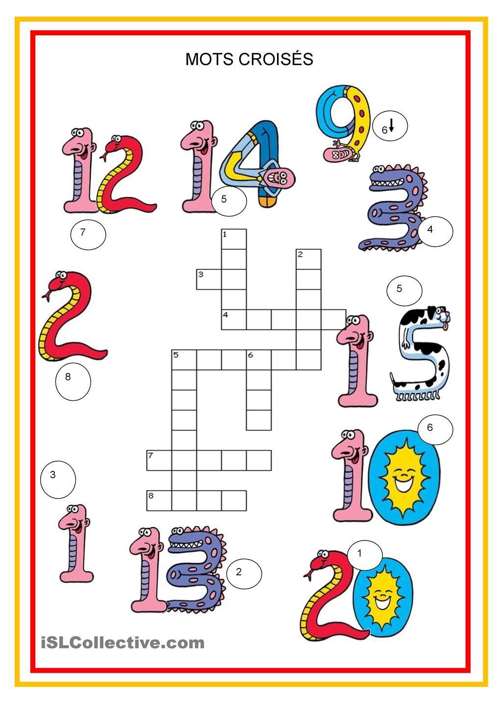 Mots Croisés - Nombres | Mots Croisés, Mots Croisés Enfants tout Apprendre Alphabet Francais