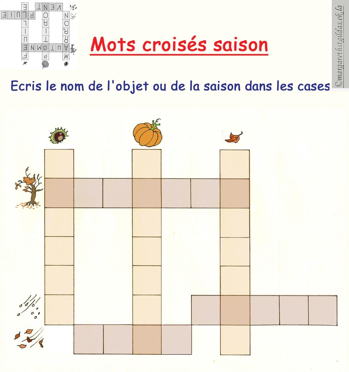 Mots Croisés Saison 1 - Margareth destiné Mots Croisés Enfants À Imprimer