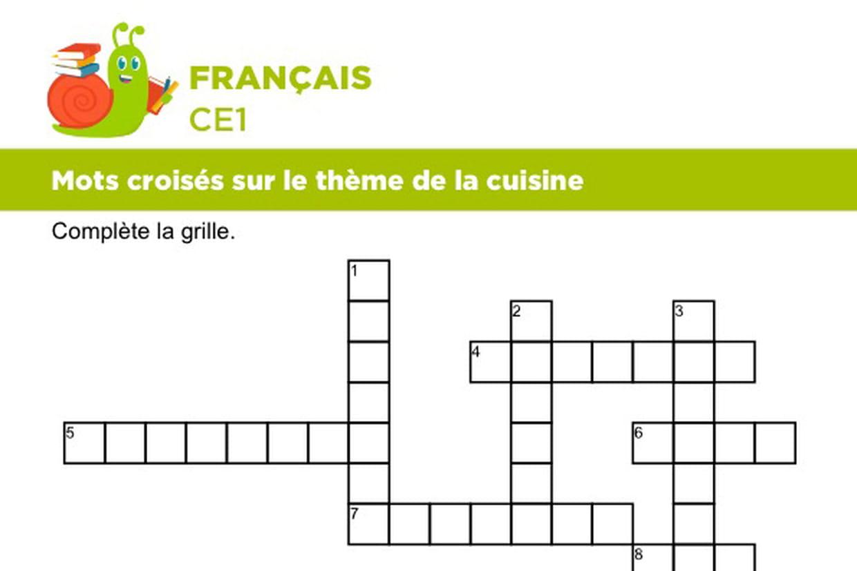 Mots Croisés Sur Le Thème De La Cuisine à Mots Fleches Cm1 Imprimer