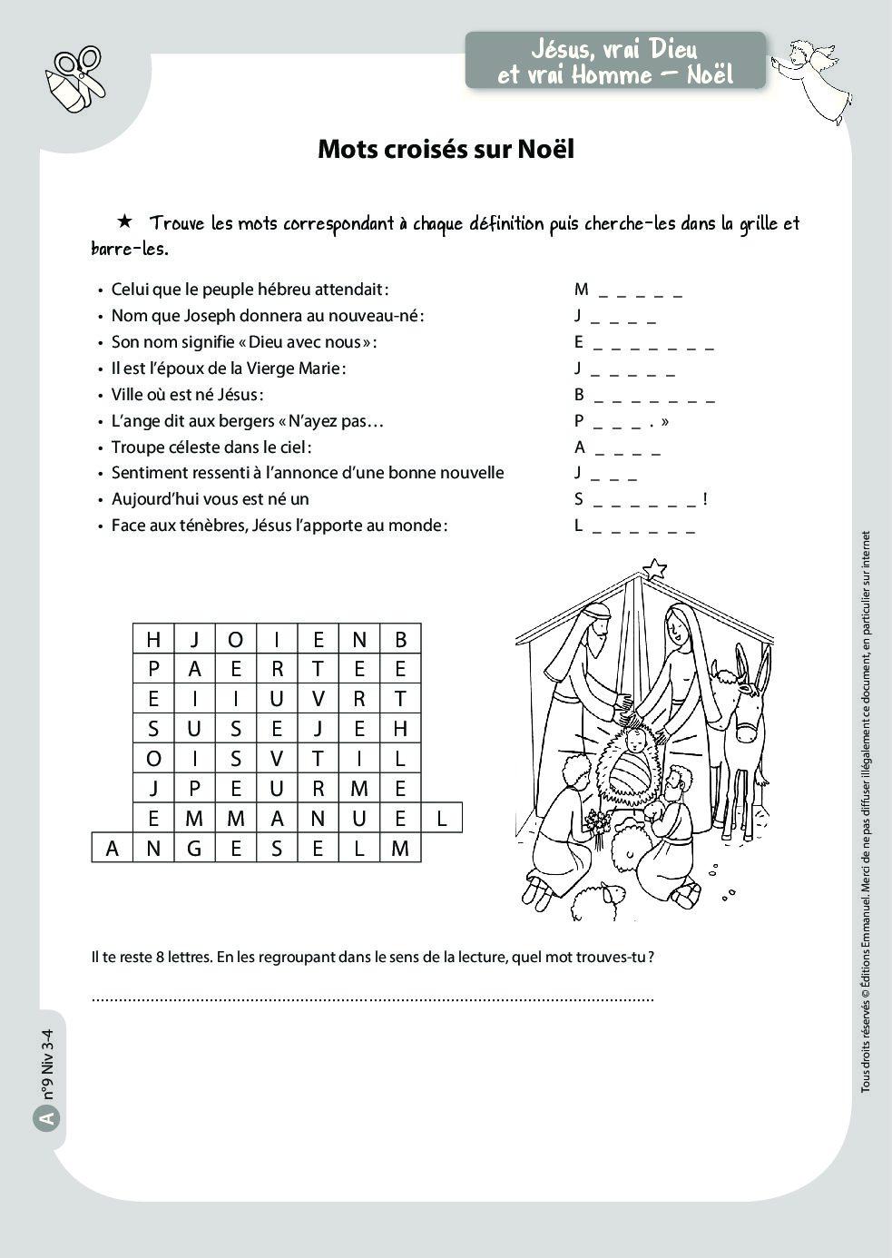 Mots Croisés Sur Noël - Catéchisme Emmanuel destiné Mots Croisés A Imprimer Gratuit