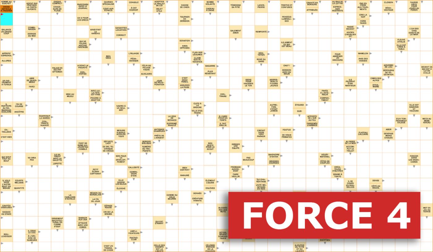 Mots Fléchés Géants Gratuits - Force 4 - 1Er Novembre 2019 avec Les Mot Fleches Gratuits