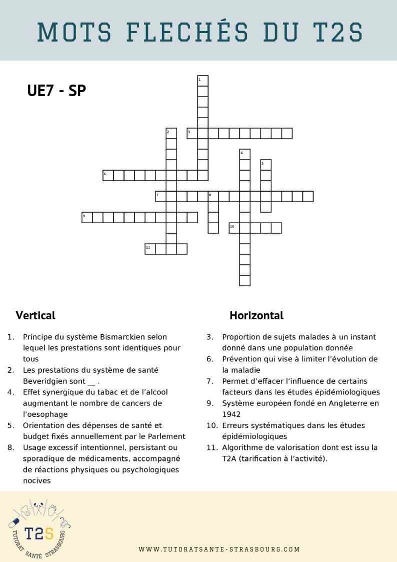 Mots Fléchés N°4 – 2019 - Tutorat Santé Strasbourg avec Mots Croises Et Mots Fleches