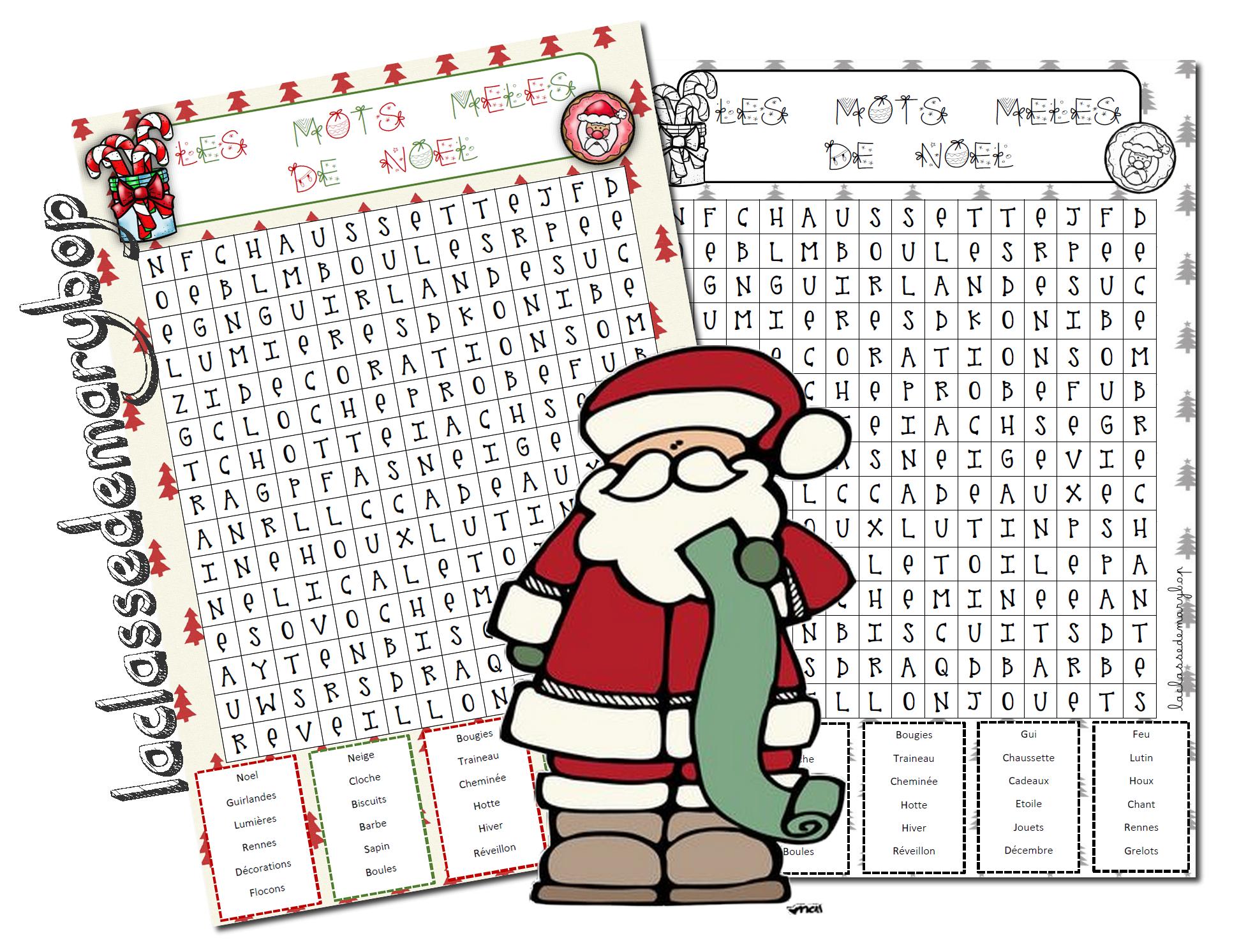 Mots Mêlés De Noel Cycle 3 - La Classe De Marybop avec Mots Croisés Noel