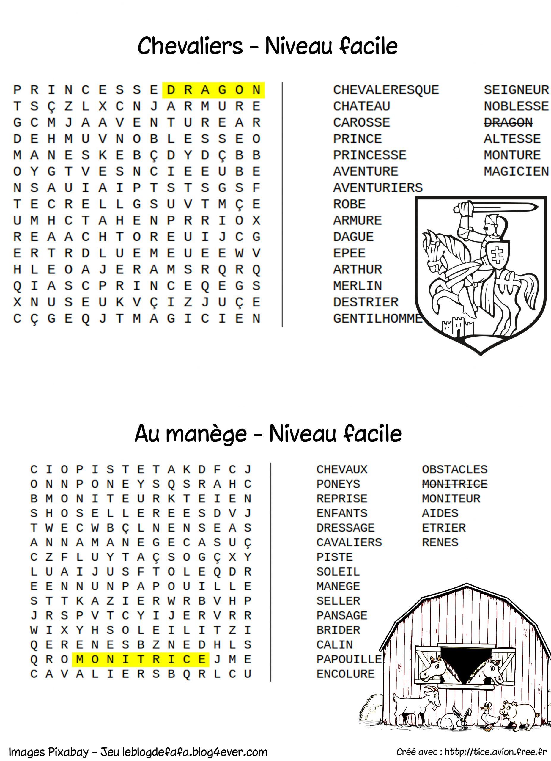 Mots Mêlés Gratuits À Imprimer Cheval Et Équitation (Nouveau avec Mots Fléchés Simples À Imprimer