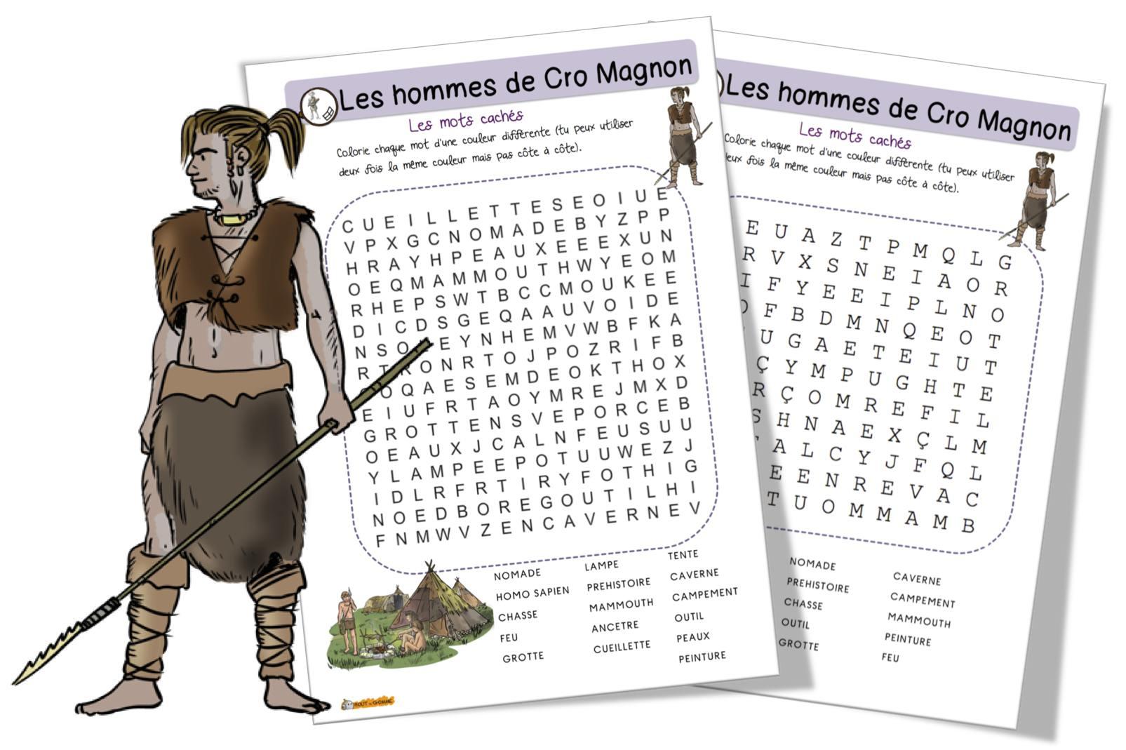 Mots Mêlés : Les Hommes De Cro Magnon | Bout De Gomme encequiconcerne Mots Mêlés Cm2