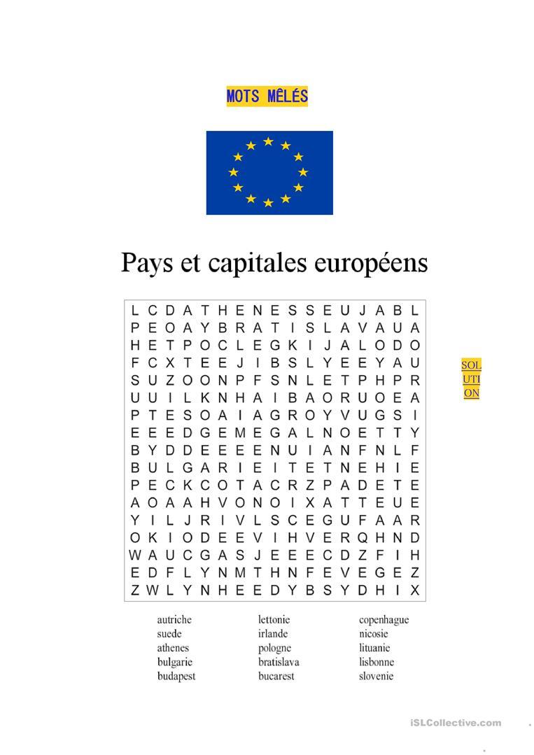Mots Mêlés-Pays Et Capitales Européens - Français Fle Fiches à Mots Mélés À Imprimer Cm1