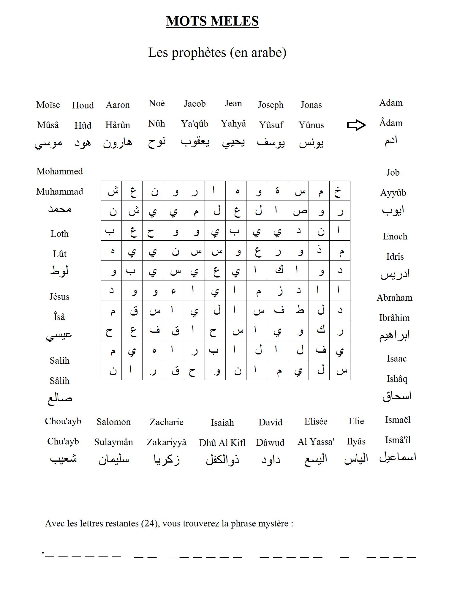 Mots Mélés Sur Le Thème Des Prophètes (Noms En Arabe). Créé serapportantà Mots Fleches Niveau 1