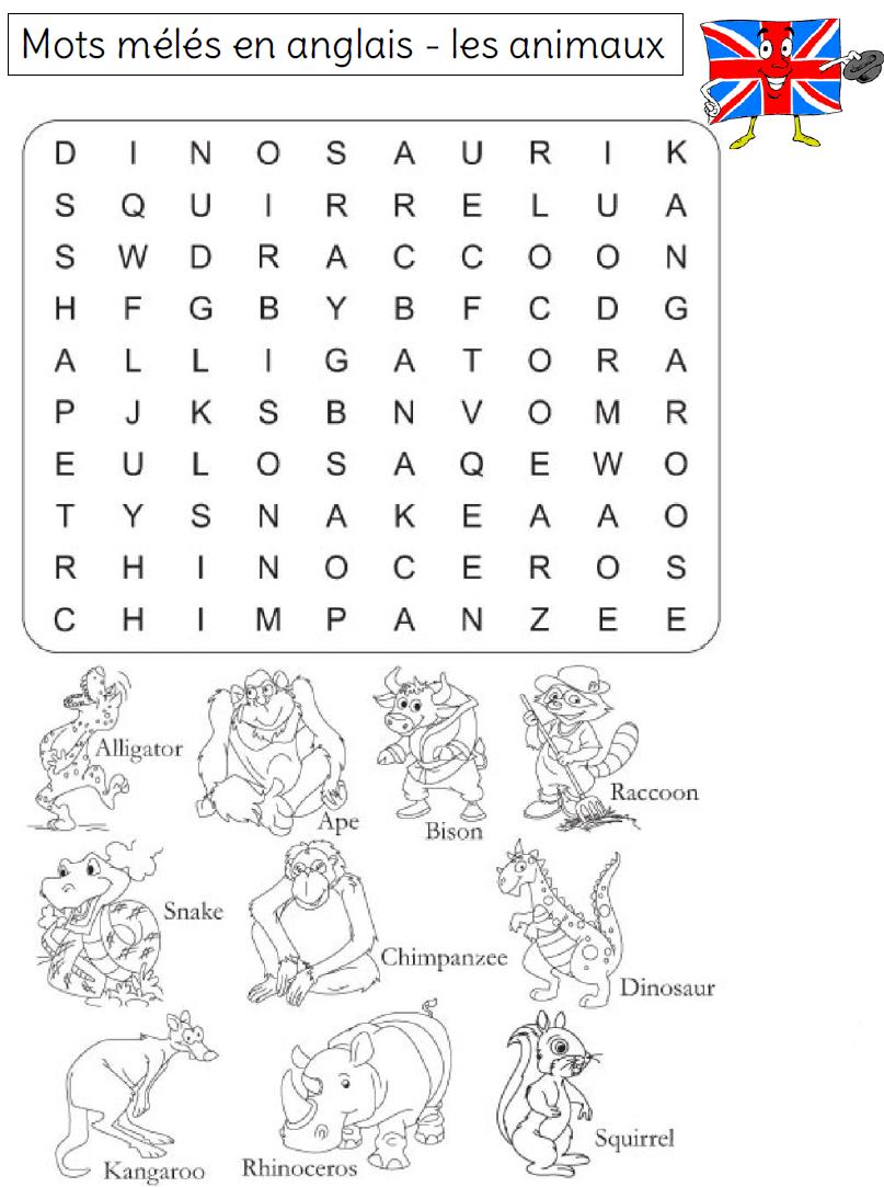 Mots Mélés Sur Le Vocabulaire En Anglais - L Ecole De Crevette à Mots Croisés Faciles Pour Débutants