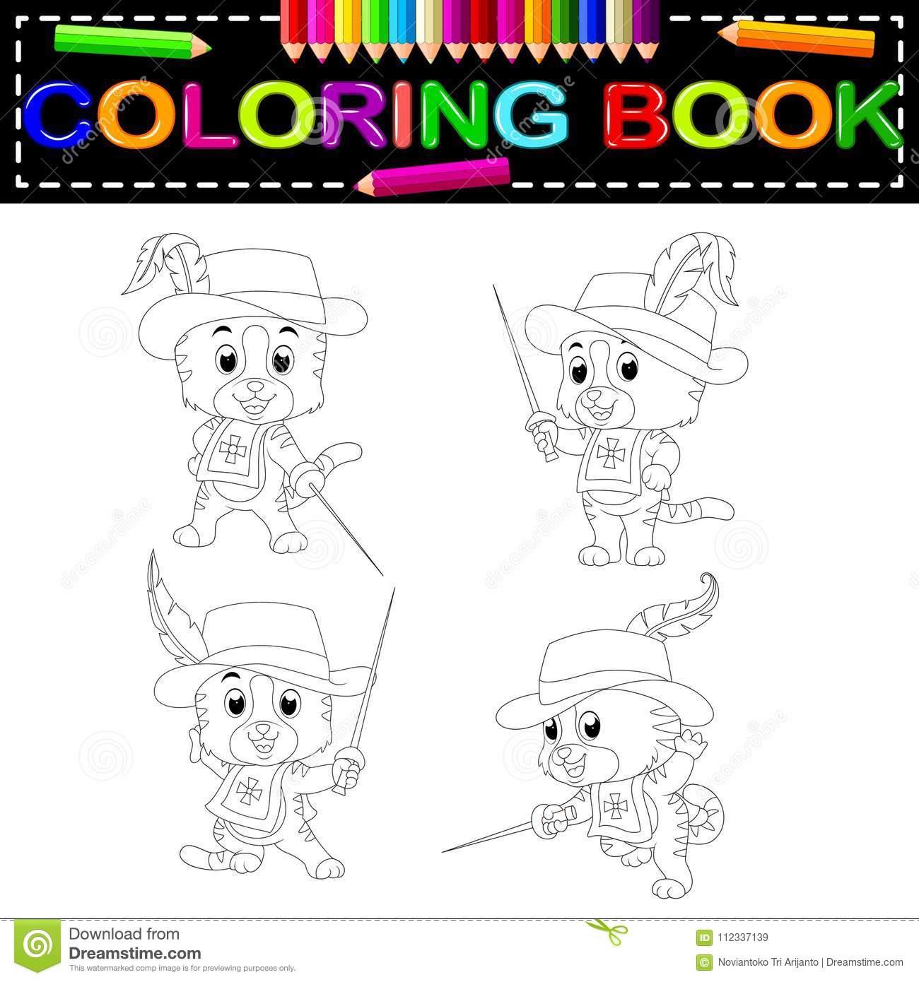 Mousquetaire De Chaton Avec Livre De Coloriage D'épée concernant Coloriage D Épée