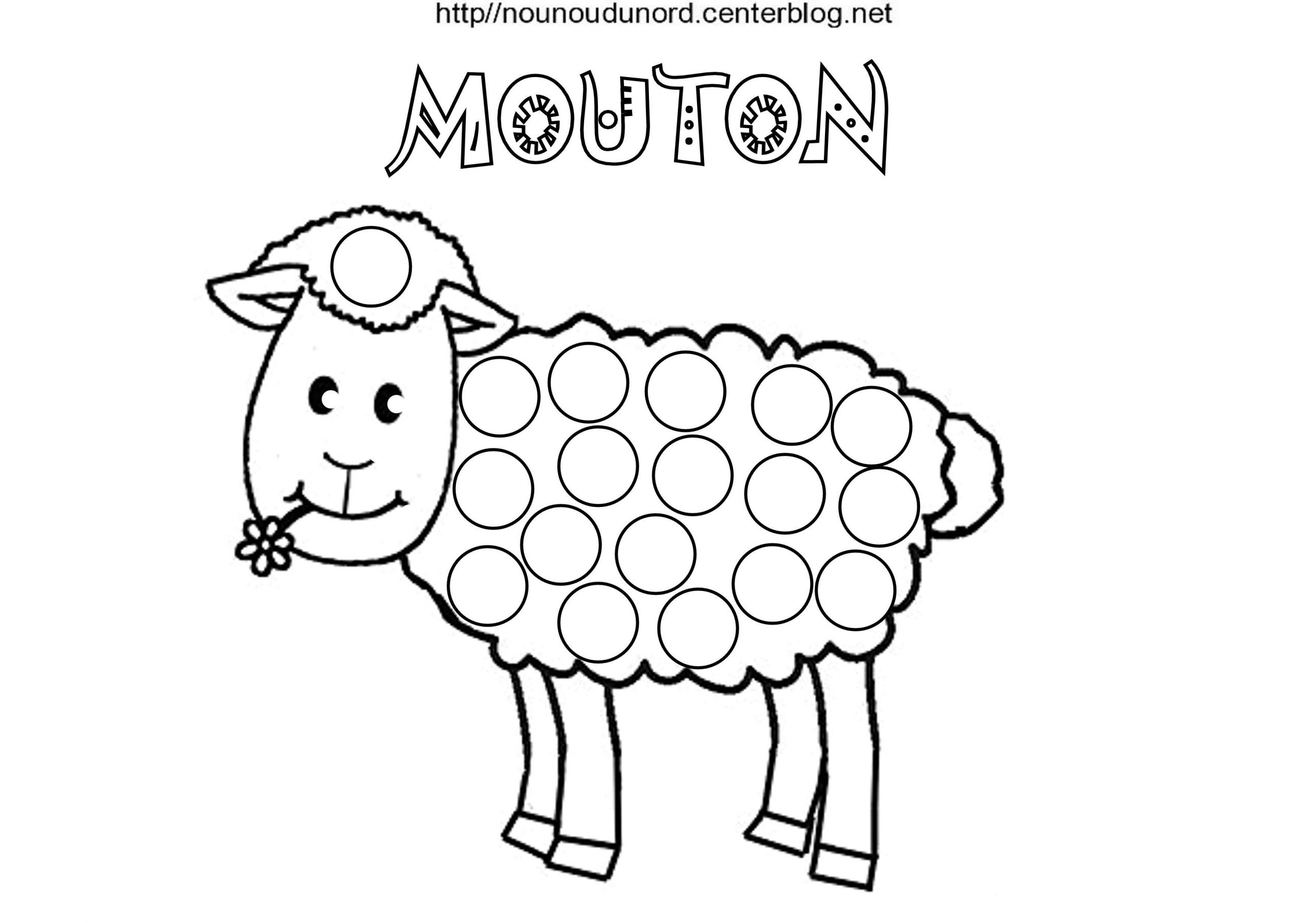 Mouton Coloriage Et Gommettes En Couleur destiné Photo De Mouton A Imprimer