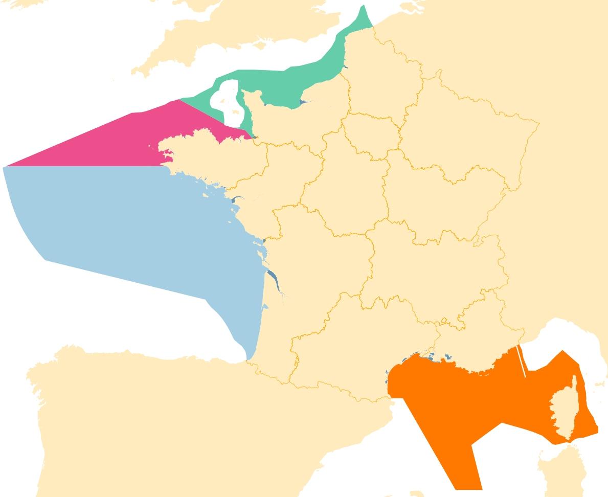 Msfd - Marine Subregions (France) intérieur Decoupage Region France