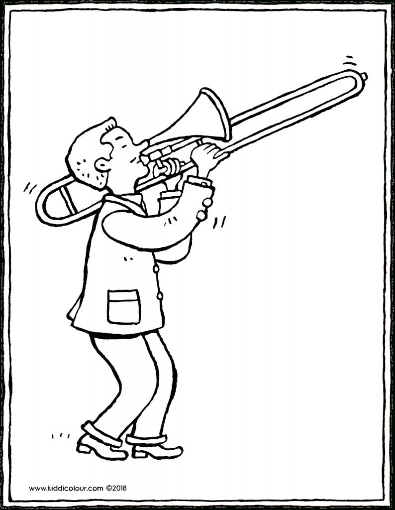Musiciens Kleurprenten - Kiddicoloriage destiné Trompette À Colorier