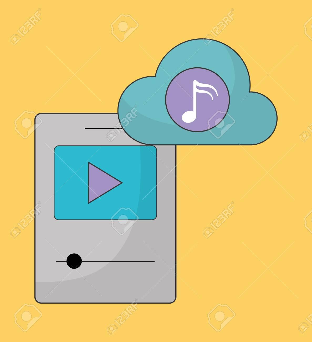Musique En Ligne Représentée Par Le Jeu, Le Nuage, La Note De Musique Et  L'icône Mp3. Illustration Colorfull Et Plat dedans Jeux De Musique En Ligne