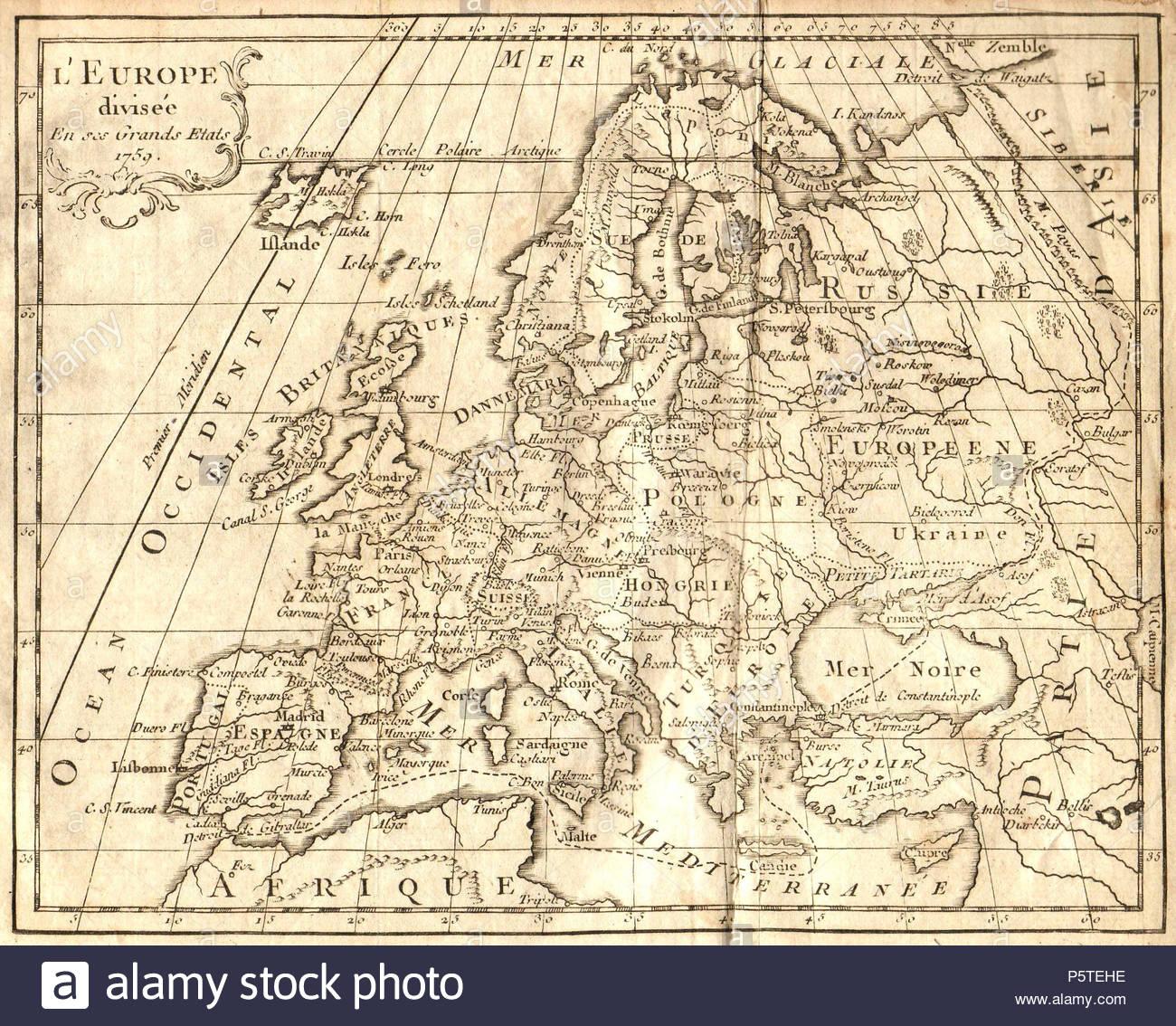 N/a. Français : Carte D'europe Dressée En 1763 Avec Le destiné Carte D Europe En Francais