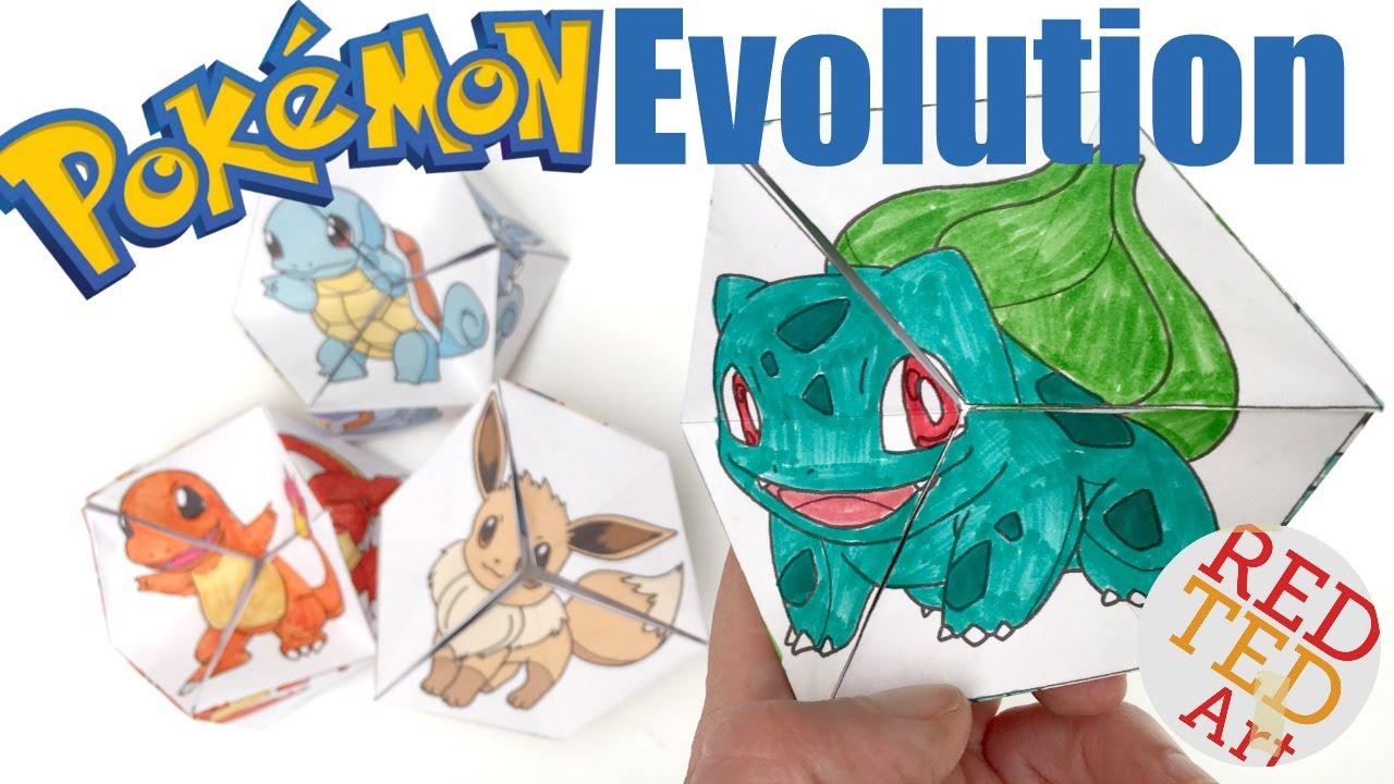 Neverending Pokemon Evolution Diy - Paper Toy & Coloring Page - Kaleidocycle dedans Paper Toy A Imprimer