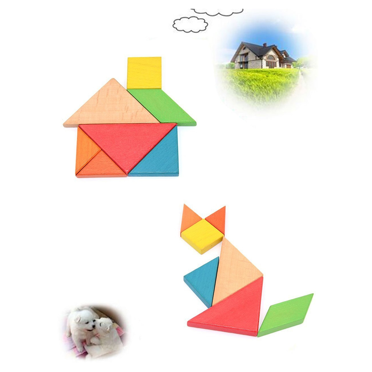 New Colorful Wooden Tangram For Kids Seven Geometric Shapes avec Pièces Tangram