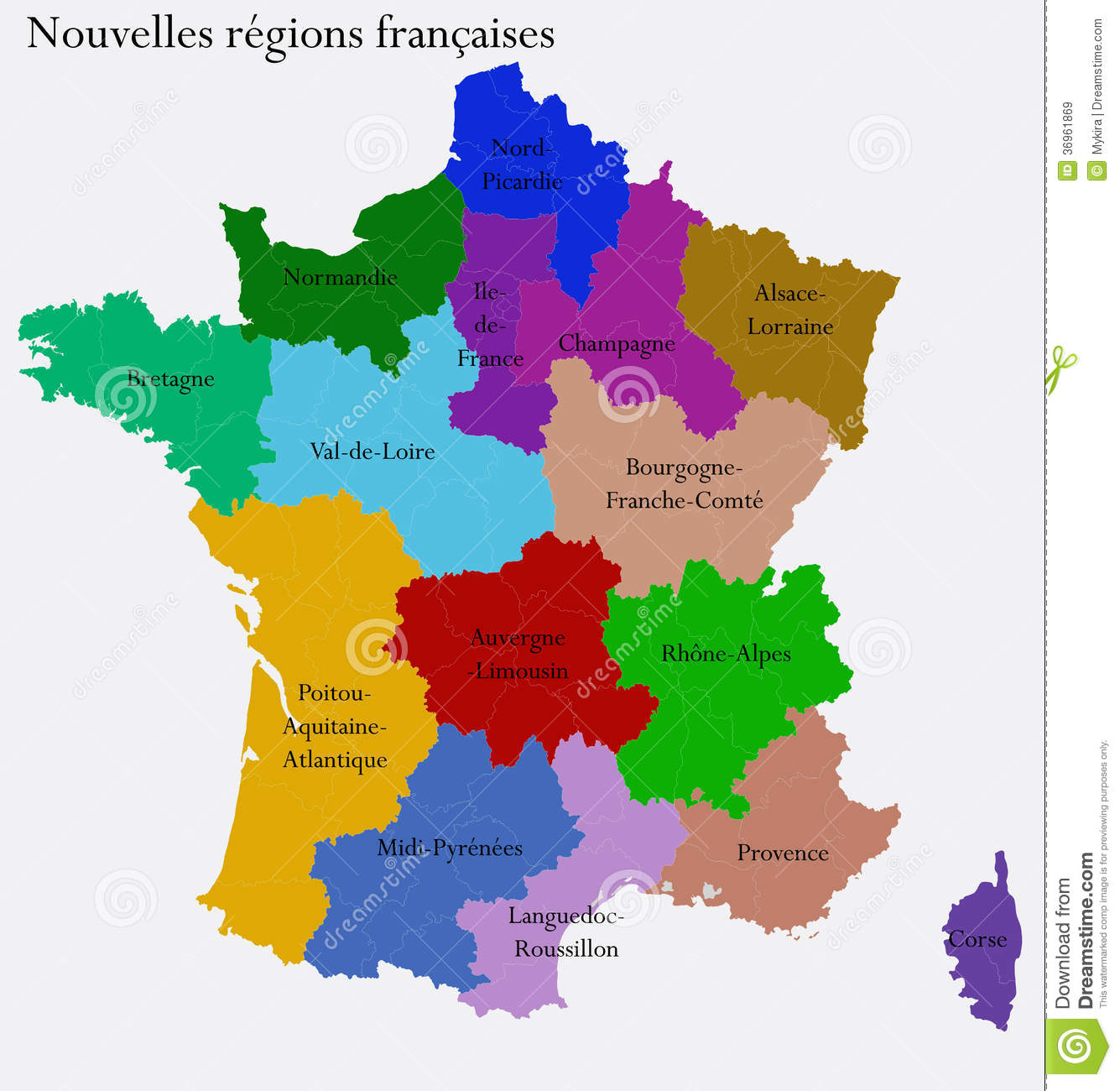 New French Regions Stock Vector. Illustration Of Centre serapportantà Nouvelle Region France
