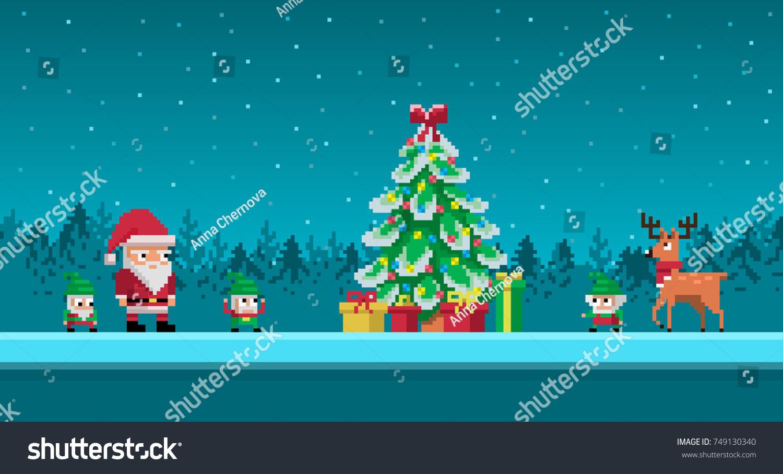 Noel Ağacı Etrafında Noel Baba Ve Stok Vektör (Telifsiz à Pixel Art De Noël
