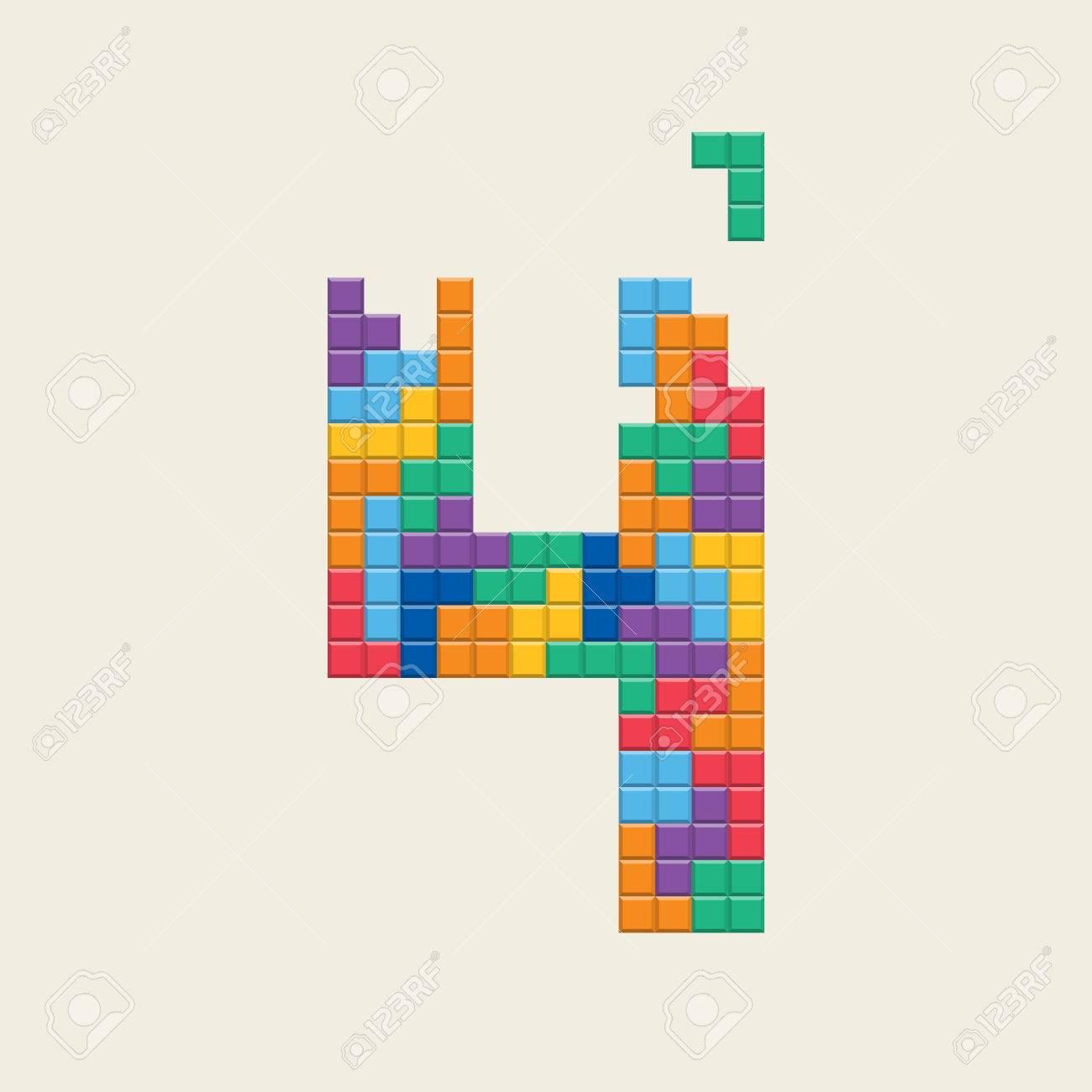 """Nombre """"4"""", Jeu De Style Pixel Vidéo. Dessin Vectoriel Éditable. dedans Jeux Dessin Pixel"""