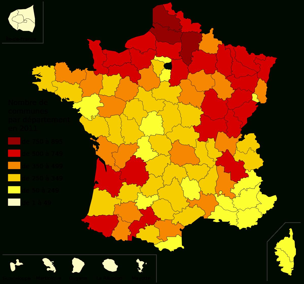 Nombre De Communes Par Département En France Au 1Er Janvier à Combien De Departement En France