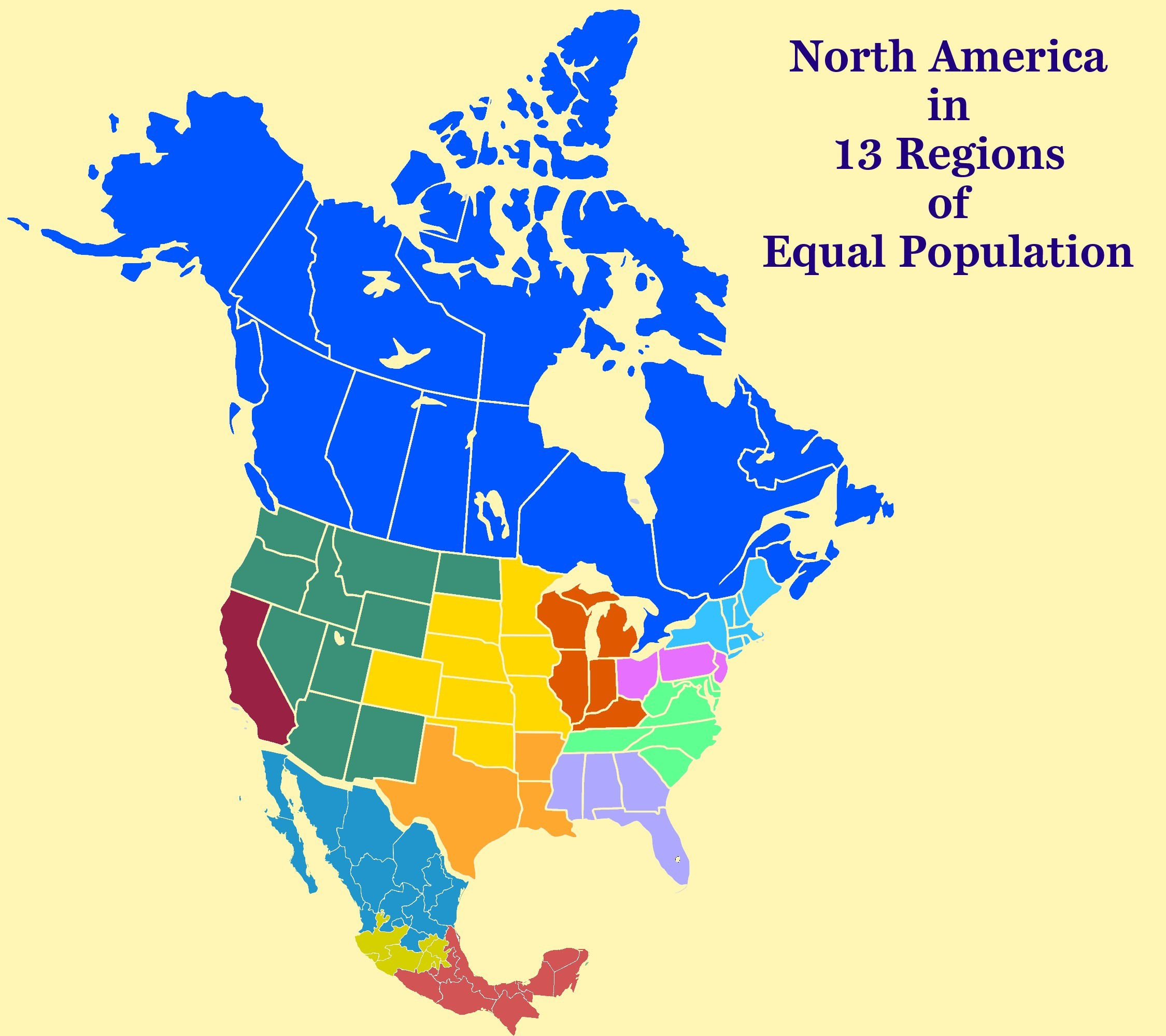 North America In 13 Regions Of Equal Population : Map destiné Les 13 Régions