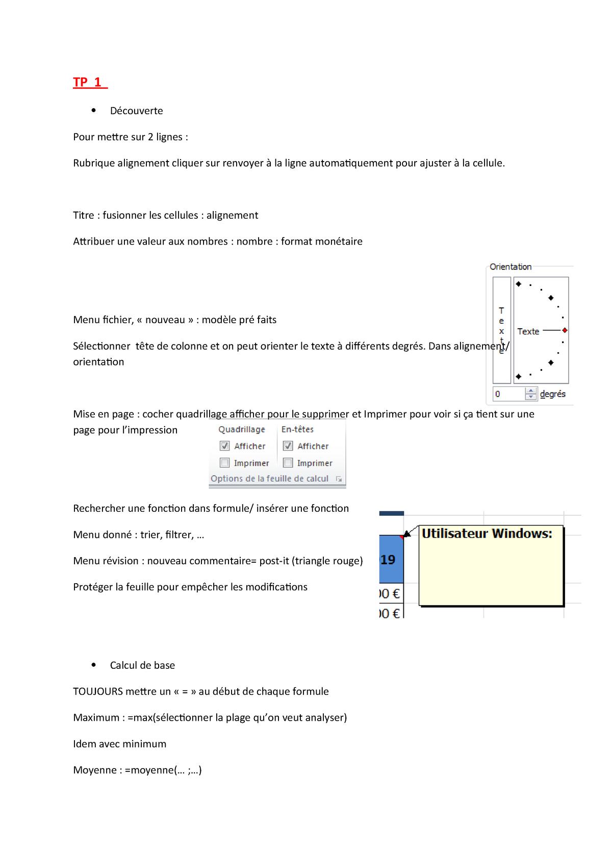 Note-Cours-Excel - Méthodologie Excel - - Dauphine - Studocu serapportantà Quadrillage À Imprimer