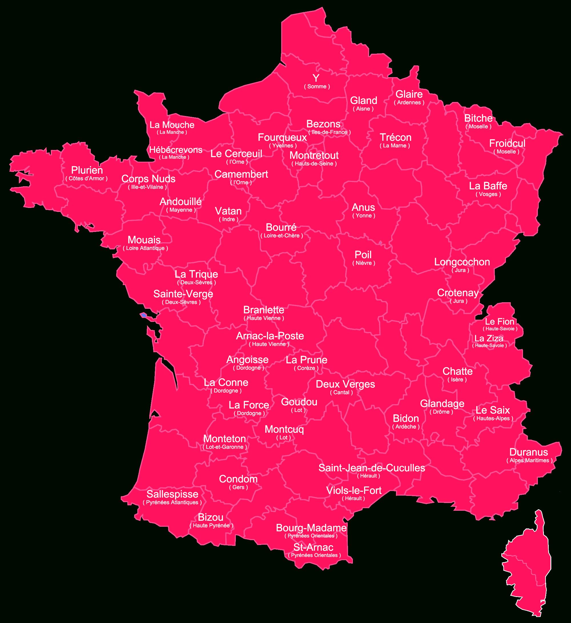 Notre Carte Des Noms De Villes Les Plus Drôles En France encequiconcerne Carte De La France Avec Ville