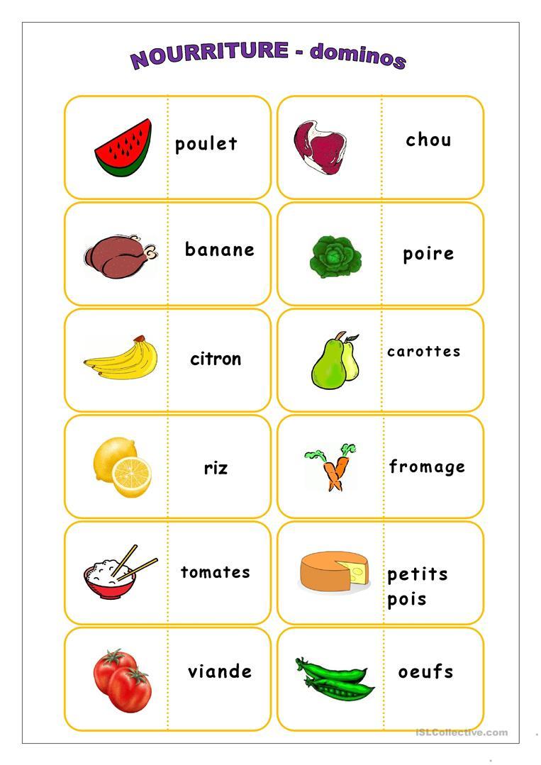 Nourriture, Dominos - Français Fle Fiches Pedagogiques pour Dominos À Imprimer