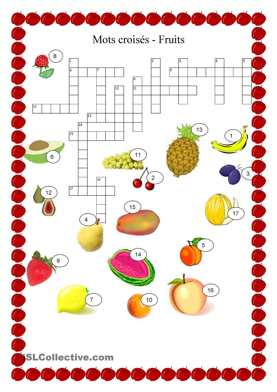 Nourriture - Fruits Mots Croisés | Mots Croisés, Apprendre encequiconcerne Mots Croisés Pour Débutants À Imprimer