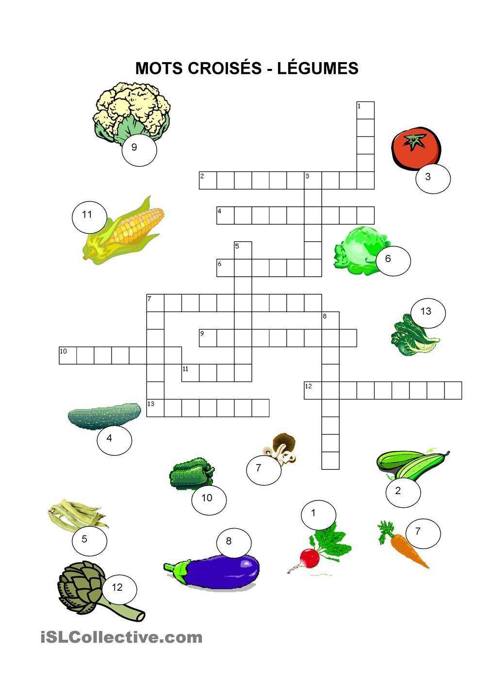 Nourriture - Mots Croisés - Légumes (Avec Images) | Mots serapportantà Mots Croisés Avec Image