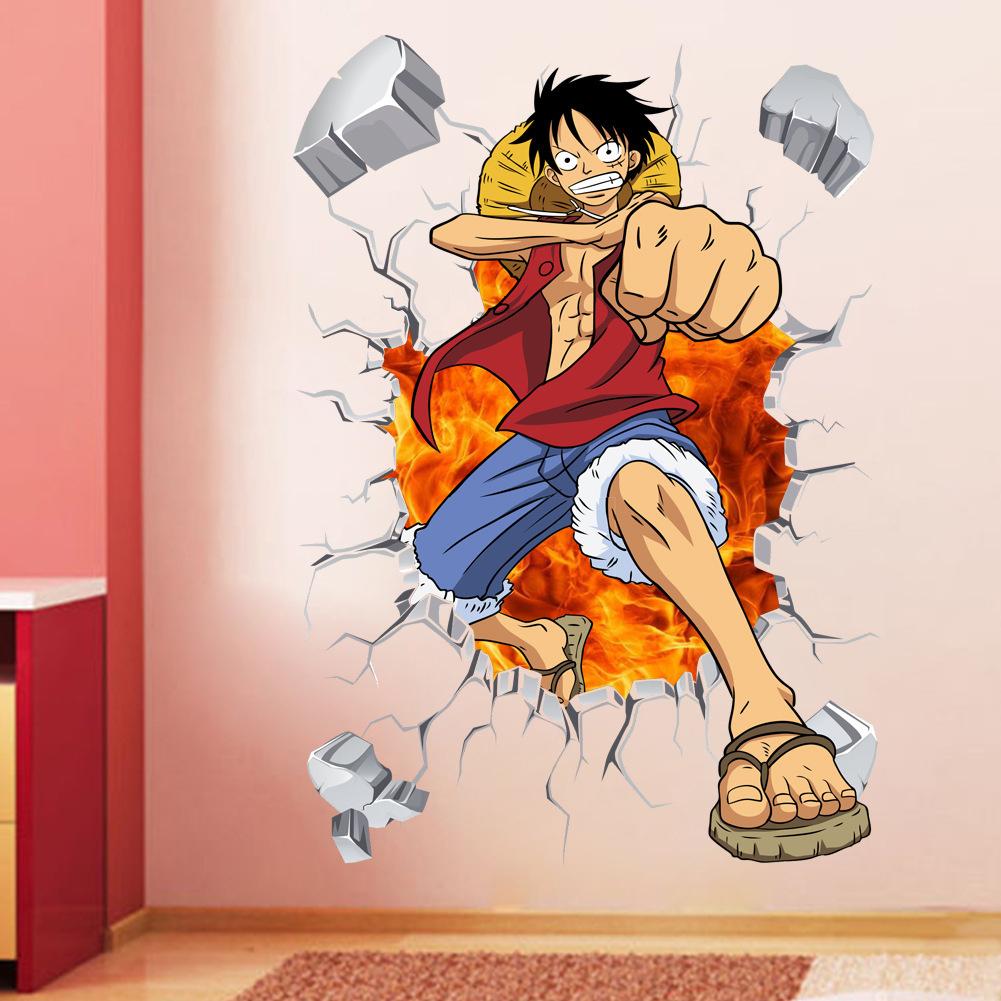 Nouveau 3D Dessin Animé One Piece Mur Coller Pin-Up Chambre D'enfants Salon  Décoration De Fond Autocollants Maternelle Bricolage Mural Art avec Dessin Animé De One Piece