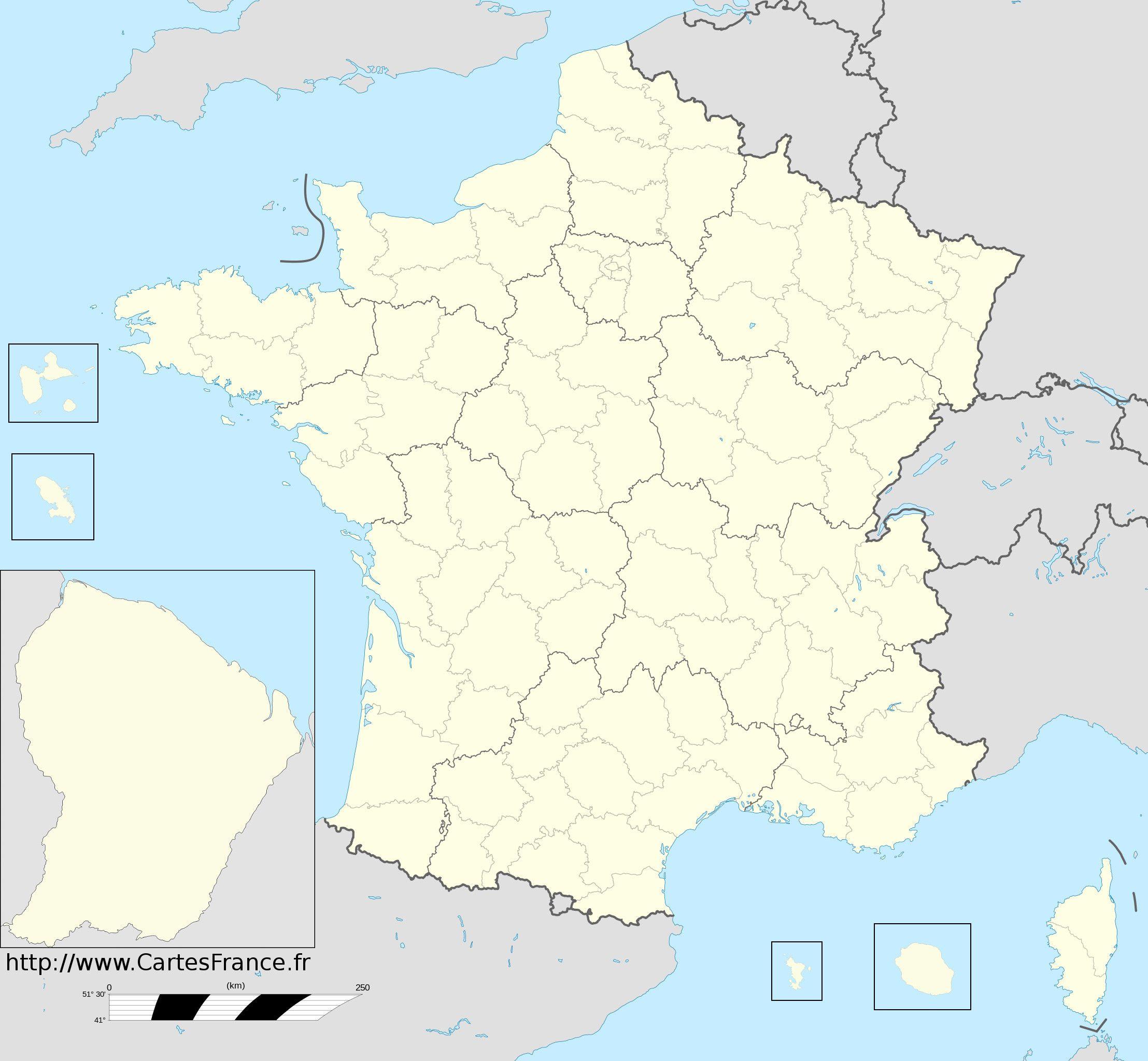 Nouveau Fond De Carte Des Départements   Carte Des Régions serapportantà Carte De France Région Vierge