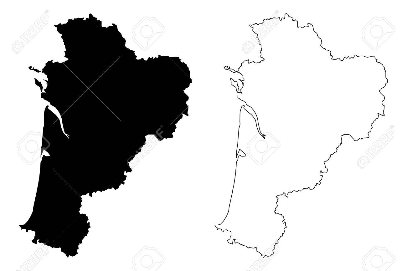 Nouvelle-Aquitaine (France, Administrative Region) Map Vector.. tout Nouvelle Region France