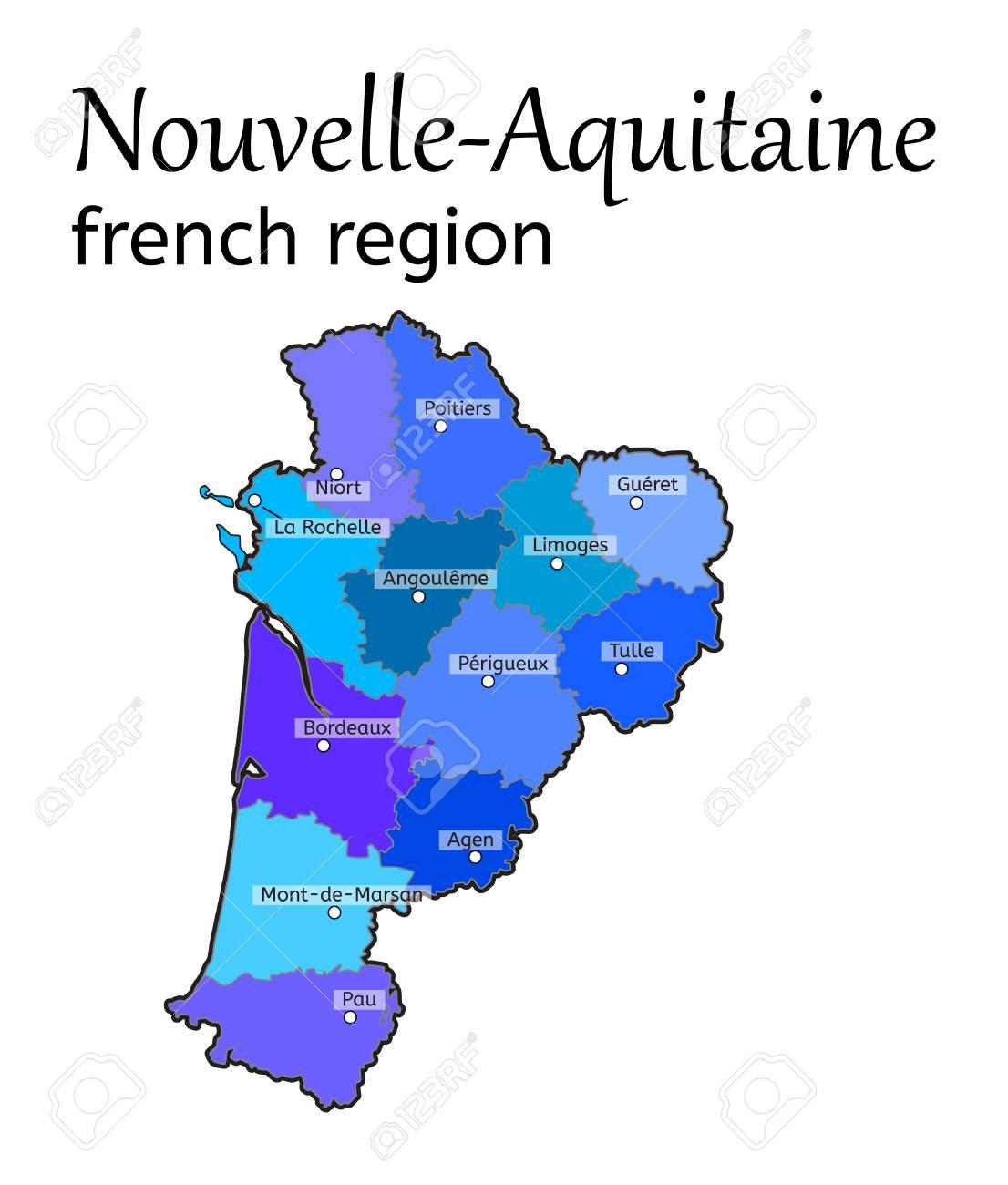 Nouvelle-Aquitaine French Region Map On White In Vector intérieur Nouvelle Region France