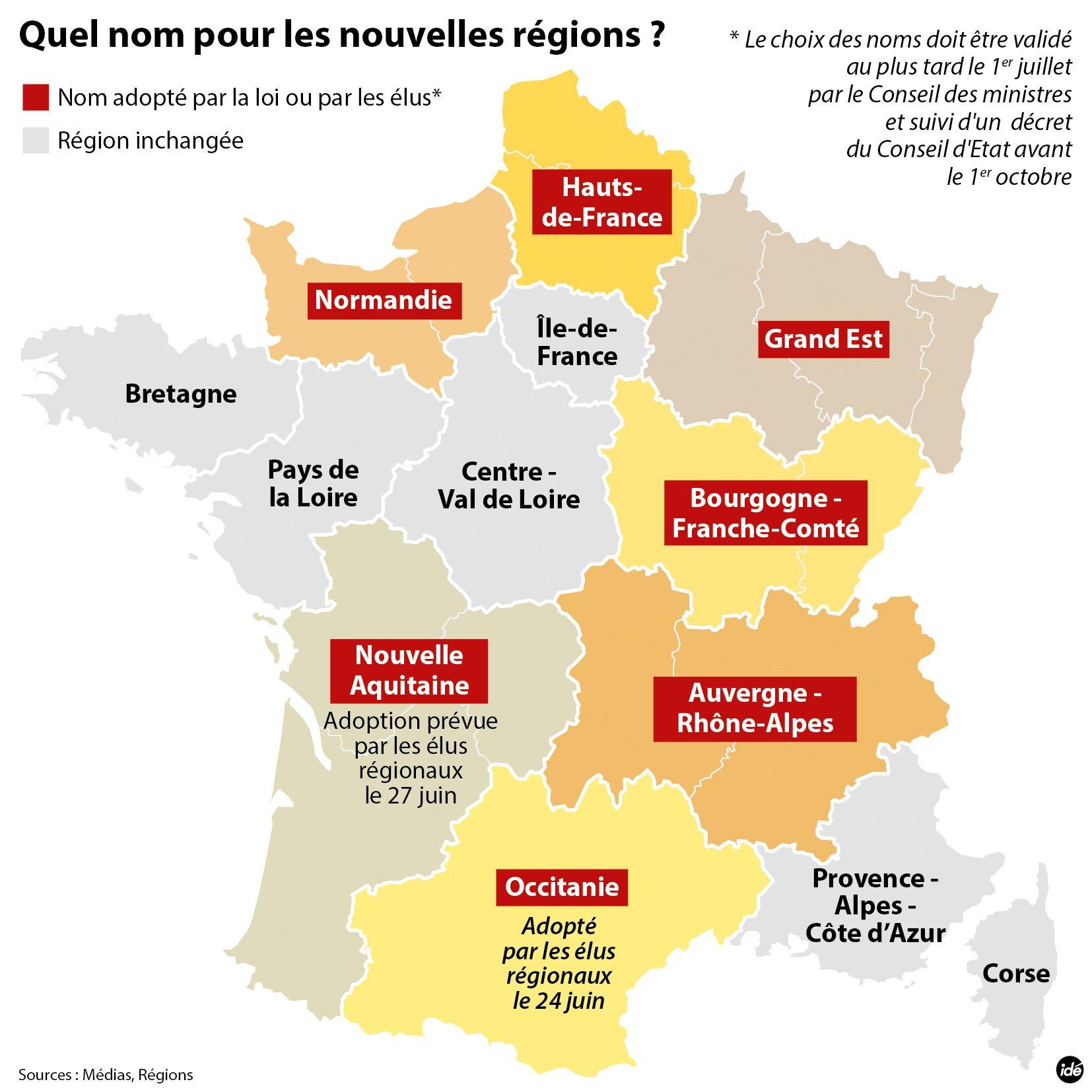 Nouvelle-Aquitaine : Nouveau Nom De La Grande Région dedans Carte Des Régions De France 2016