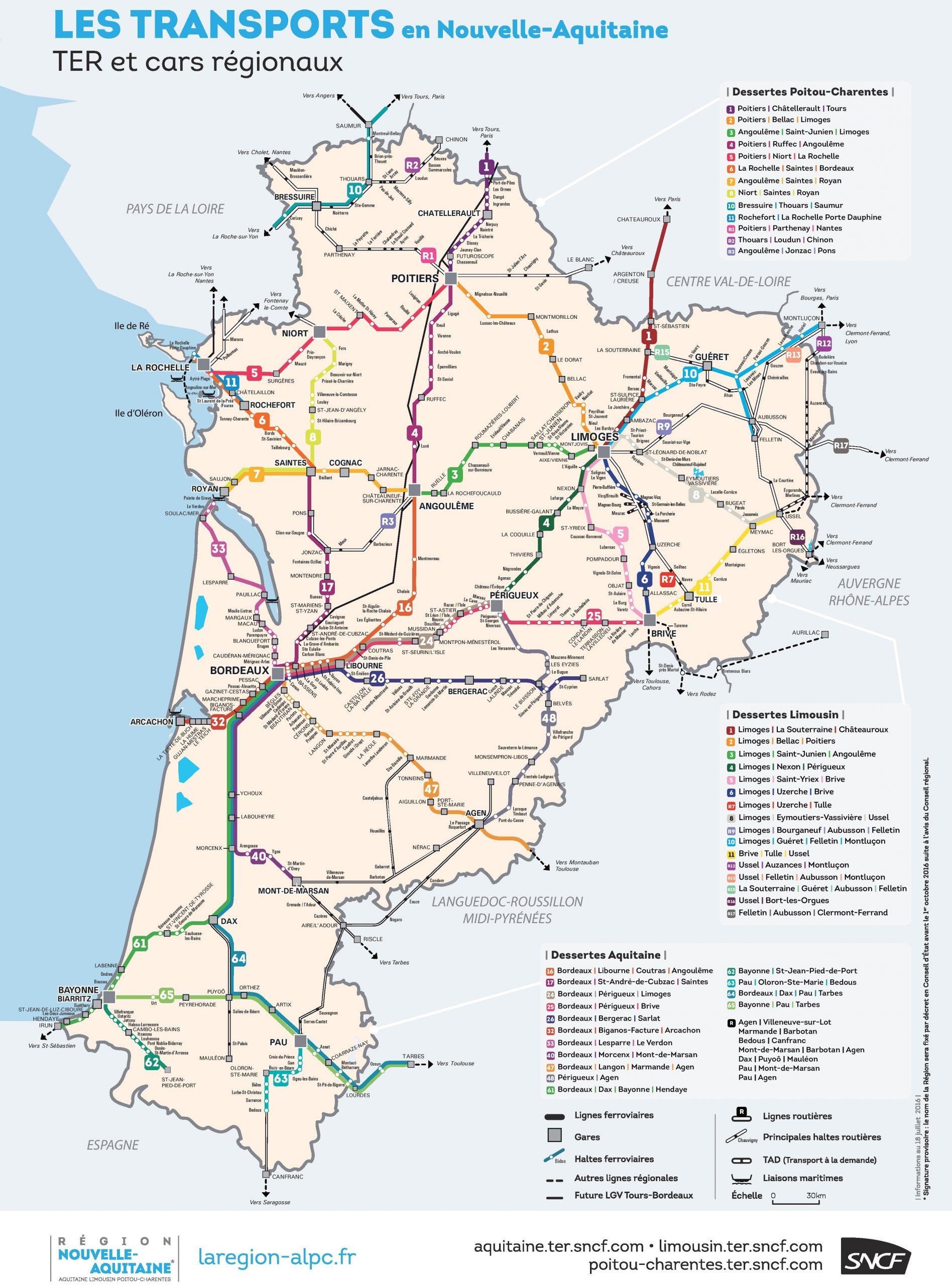 Nouvelle-Aquitaine Rail Map dedans Nouvelle Region France