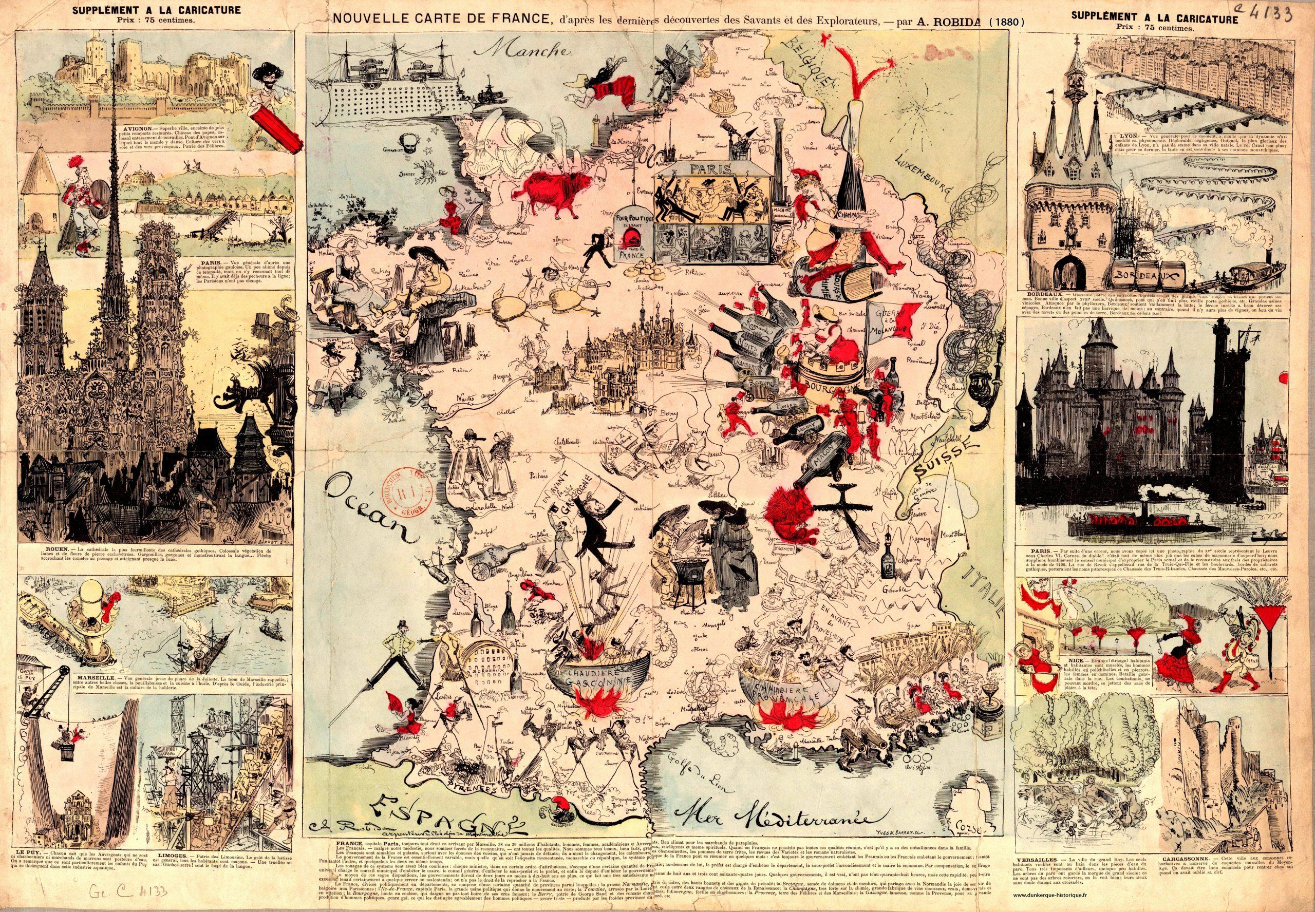 Nouvelle Carte De France Par A. Robida 1880 : France à Carte De France Pour Les Enfants