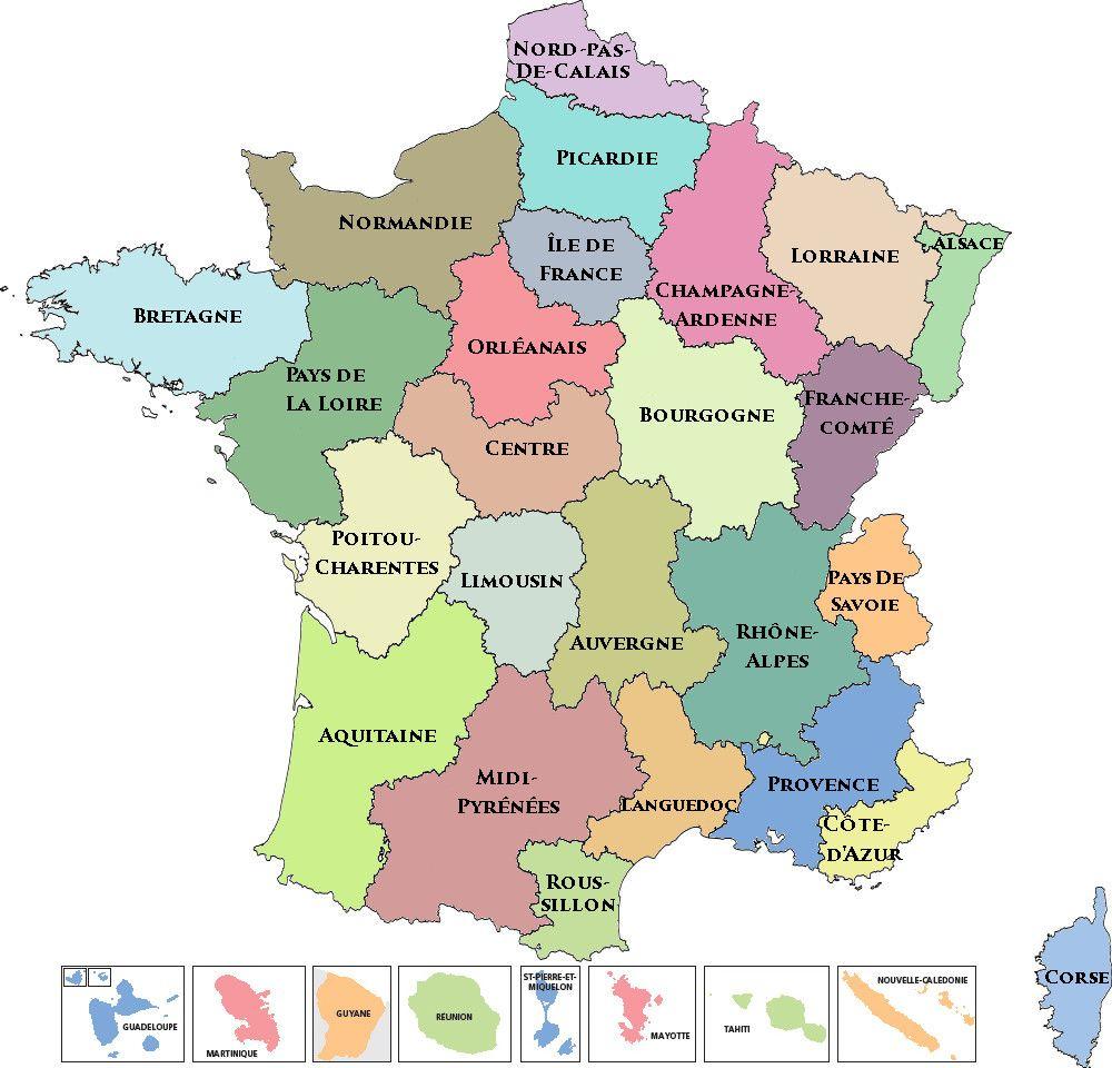 Nouvelle Carte Des Régions Miss France (Depuis 2011)   Map avec Carte De Region De France