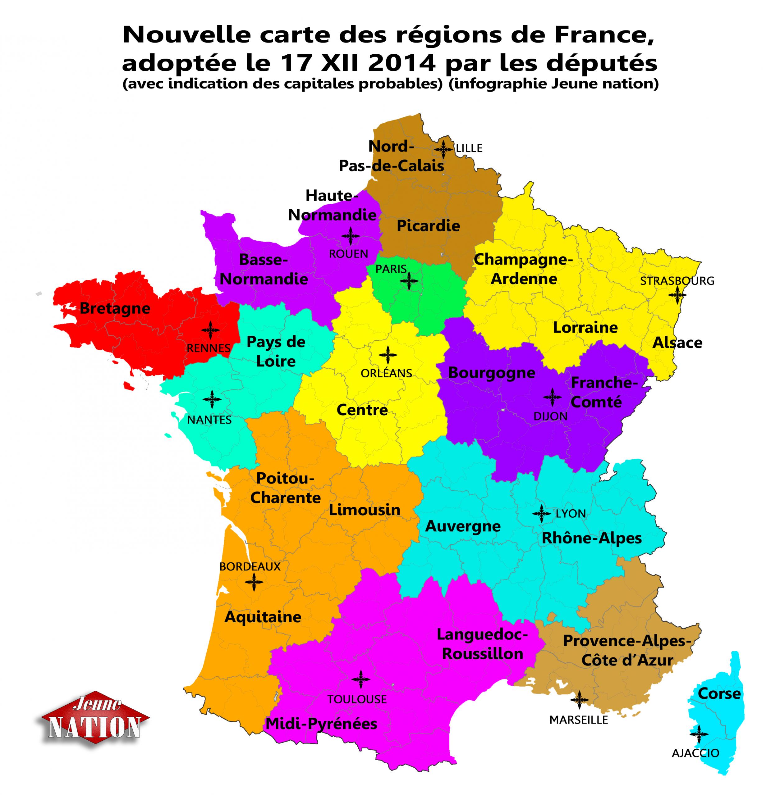 Nouvelle_Carte-Régions France 2014_Reforme_Territoriale- tout Nouvelle Carte Region