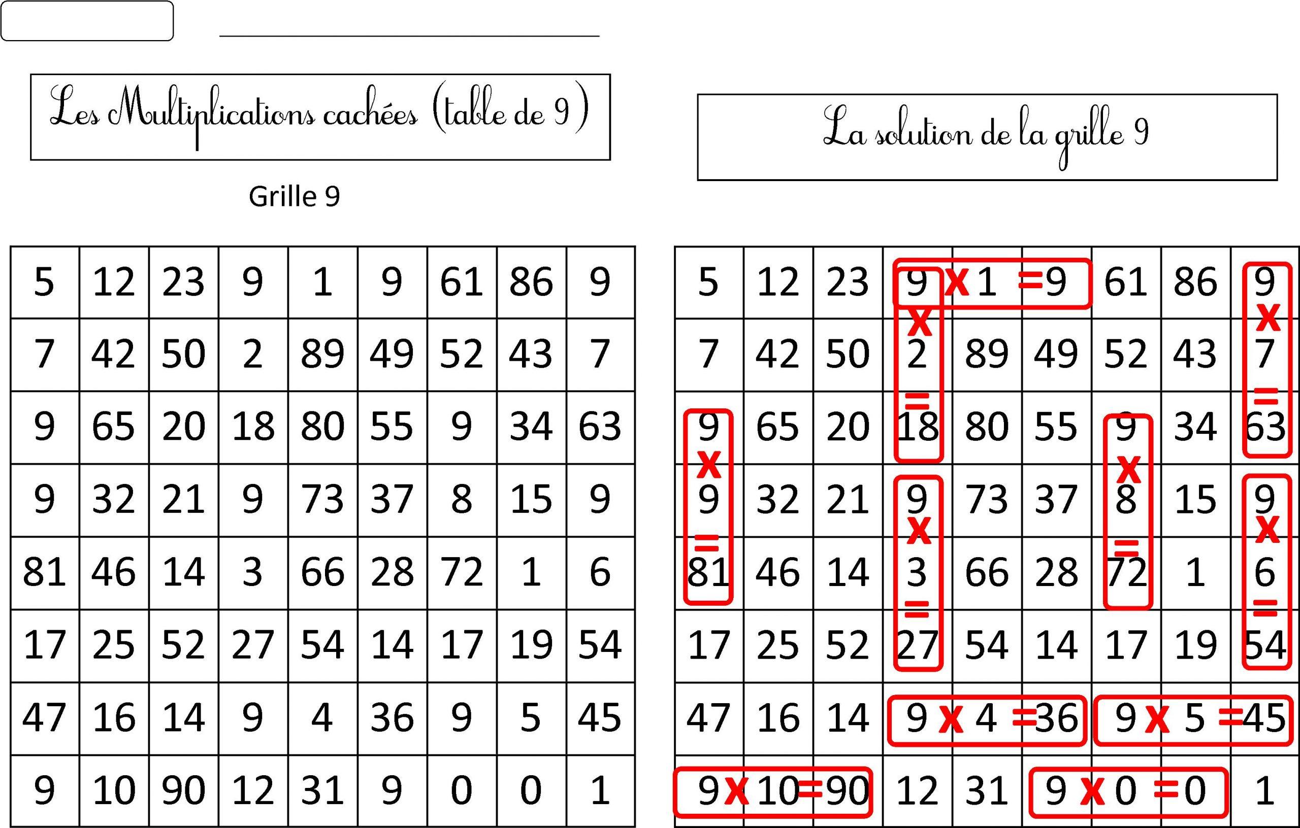 Nouvelles Grilles Multiplications Cachées Tables 6 7 8 9 avec Mots Mêlés Cm2