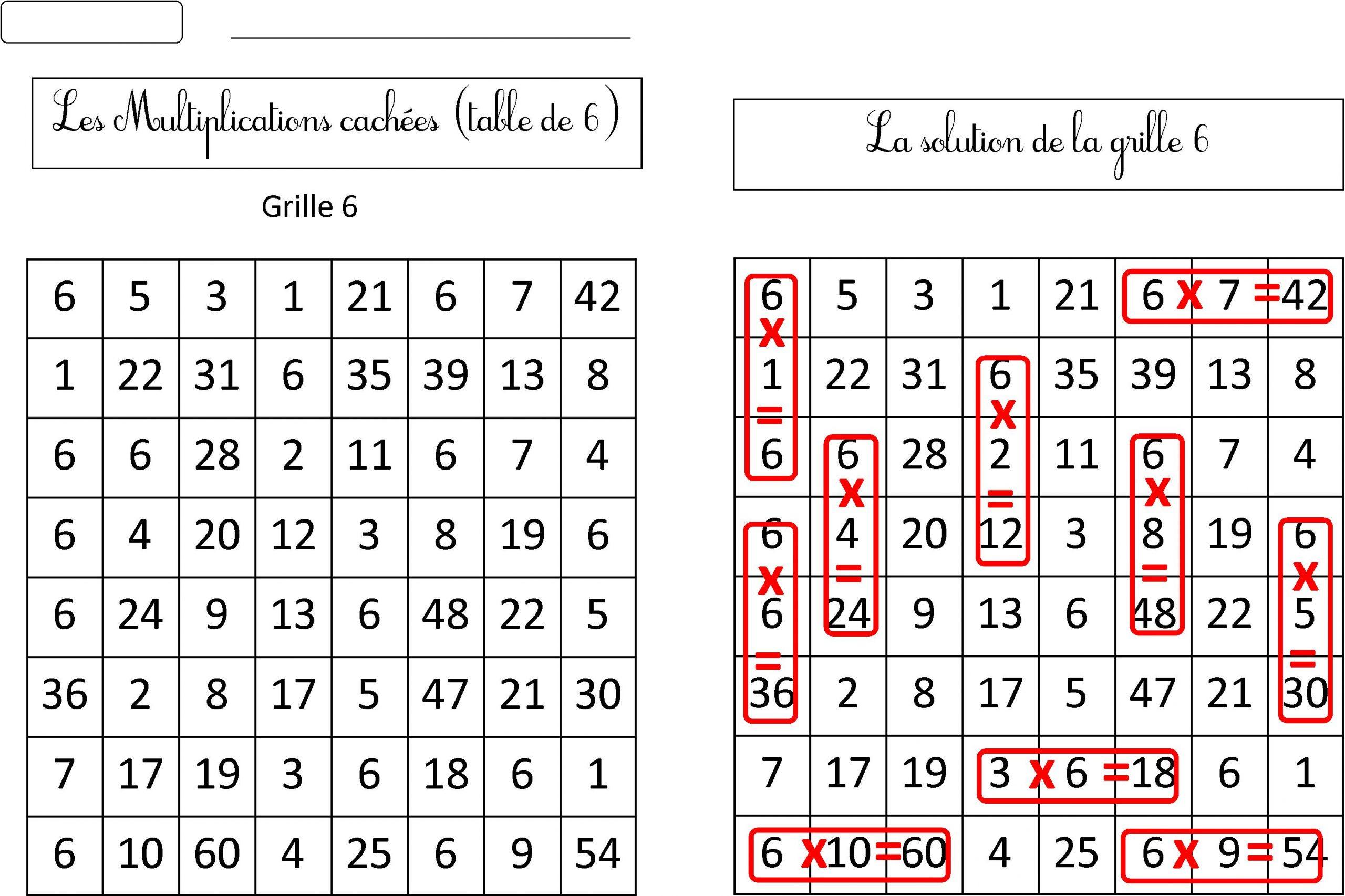 Nouvelles Grilles Multiplications Cachées Tables 6 7 8 9 serapportantà Mots Mêlés Cm2