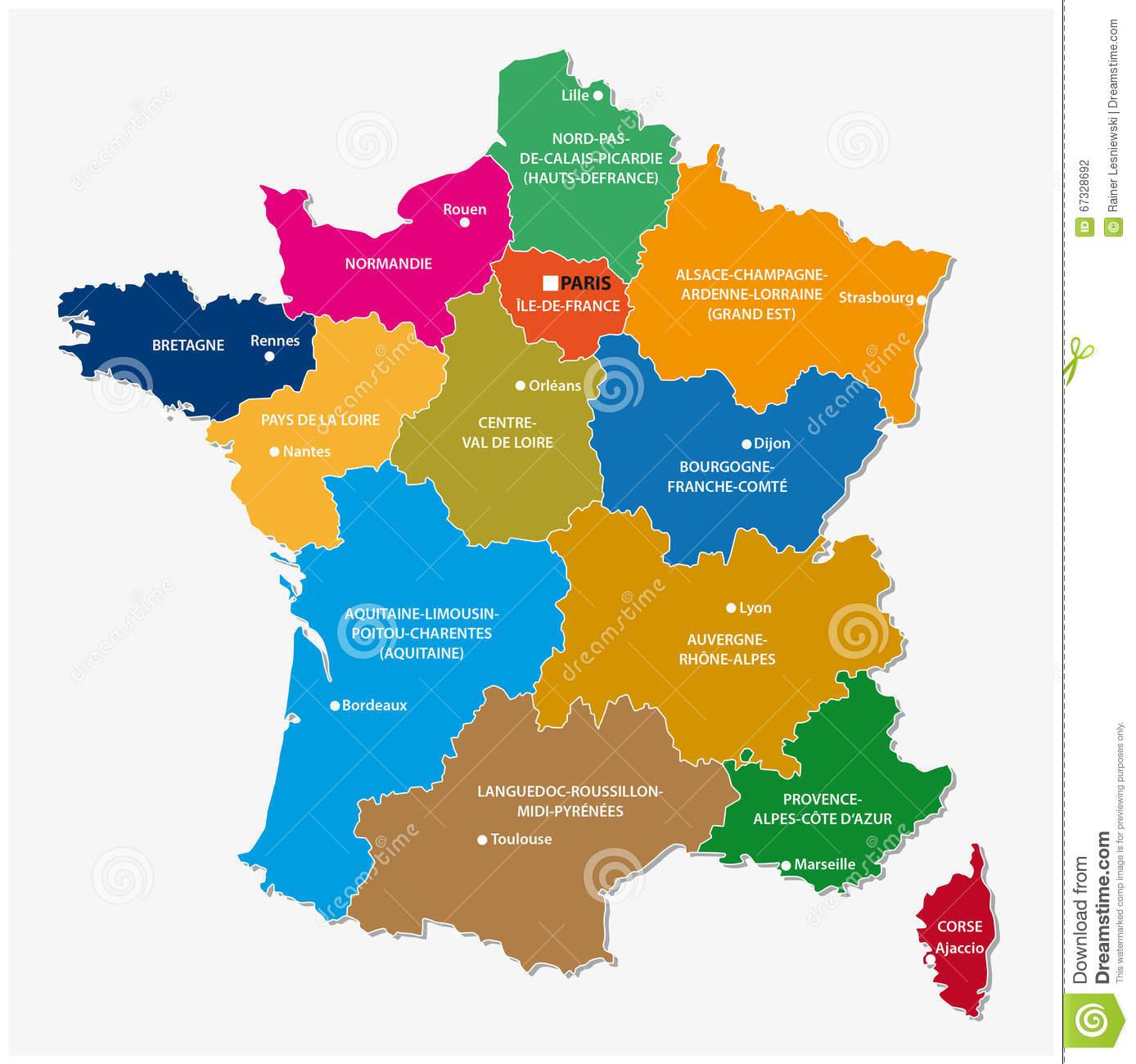 Nouvelles Régions Des Frances, Carte Illustration Stock avec Carte Des Nouvelles Régions